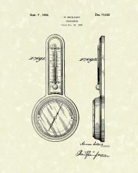 Thermometer 1926 Patent Art Drawing by Prior Art Design