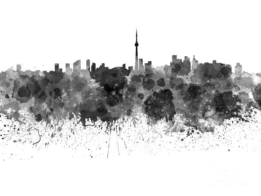 Toronto Skyline In Black Watercolor On White Background Painting by