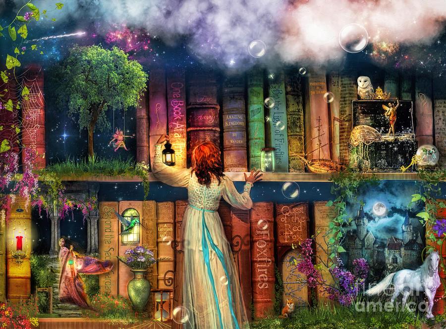 Bookshelf Iphone Wallpaper Fairytale Treasure Hunt Book Shelf Variant 2 Digital Art