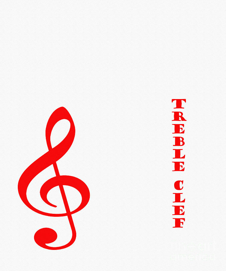 Treble Clef - Music Symbol - Red Digital Art by Barbara Griffin