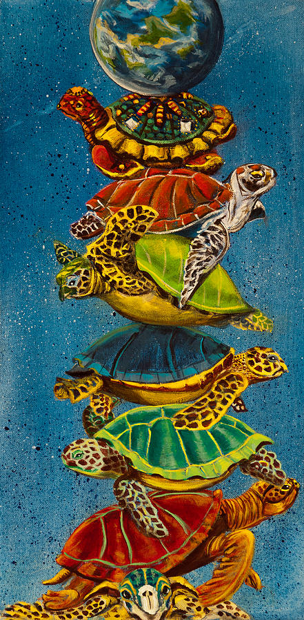 Sea Turtle Iphone Wallpaper Turtles All The Way Down Painting By Susan Culver