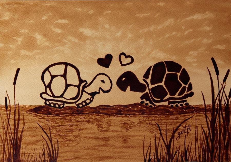 Musical Birthday Quotes Wallpapers Turtles Love Coffee Painting Painting By Georgeta Blanaru