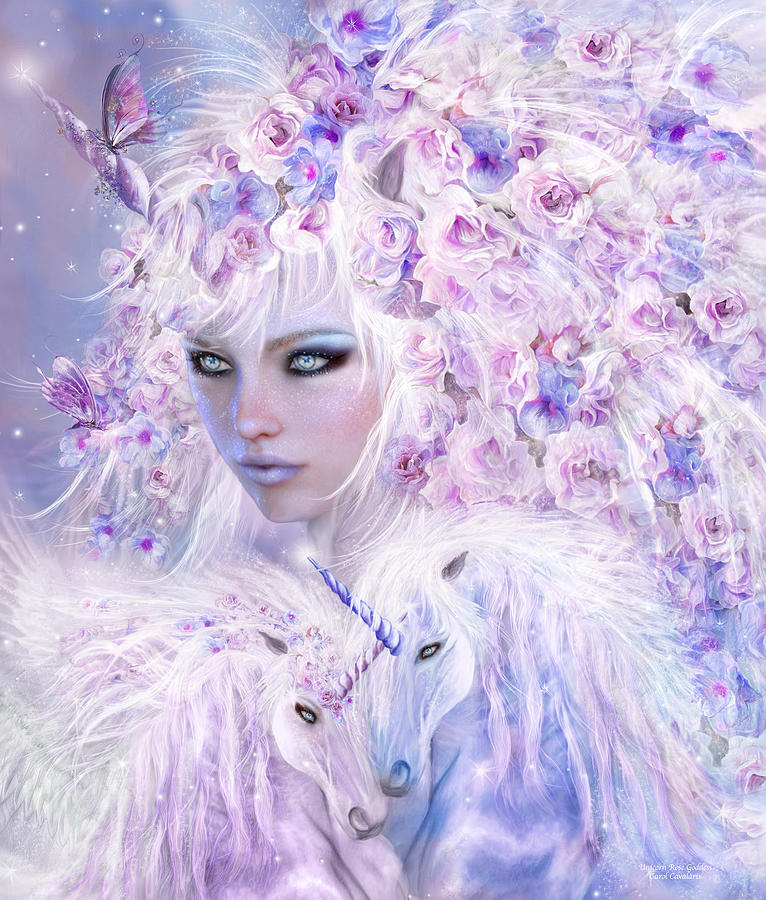 3d Rose Wallpaper Apps Unicorn Rose Goddess Mixed Media By Carol Cavalaris