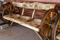 Wagon Wheel Bench Photograph by Denise Mazzocco
