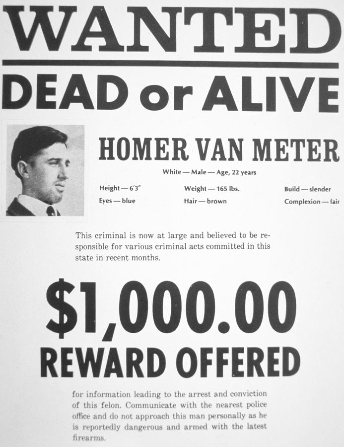 Wanted Poster For Homer Van Meter Painting by American School - criminal wanted poster
