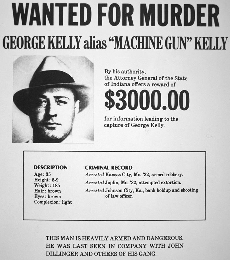 Wanted Poster For Machine Gun Kelly Painting by American School - criminal wanted poster
