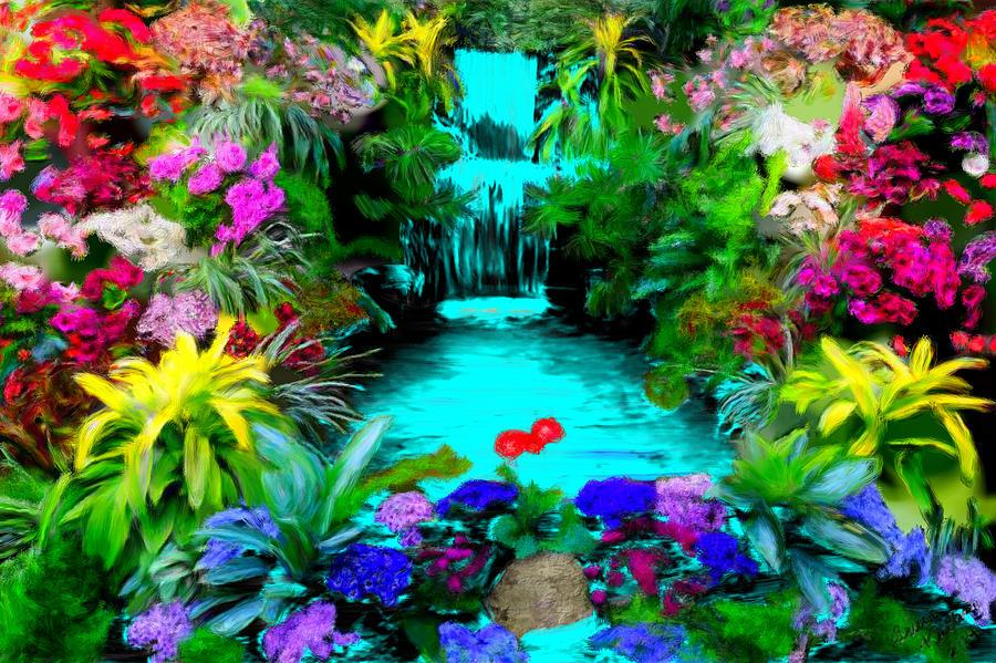 Rainbow Falls Hawaii Wallpaper Waterfall Flower Garden Painting By Bruce Nutting