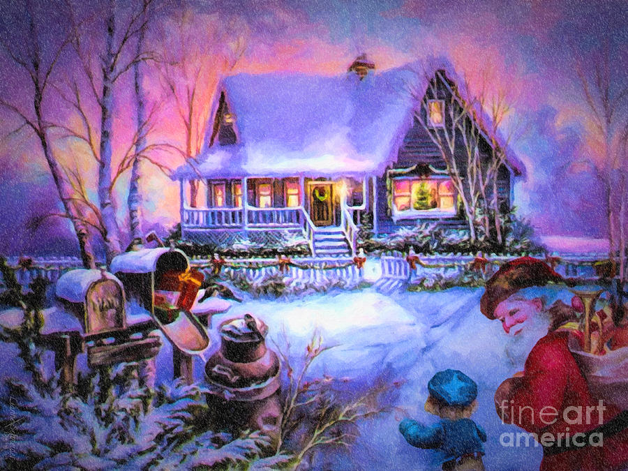 3d Snowy Cottage Animated Wallpaper Free Download Welcome Santa Retro Vintage Inspired Christmas Scene