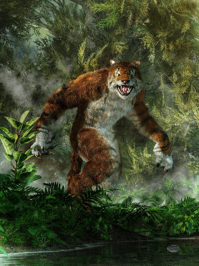 3d Lion Mobile Wallpaper Weretiger Digital Art By Daniel Eskridge
