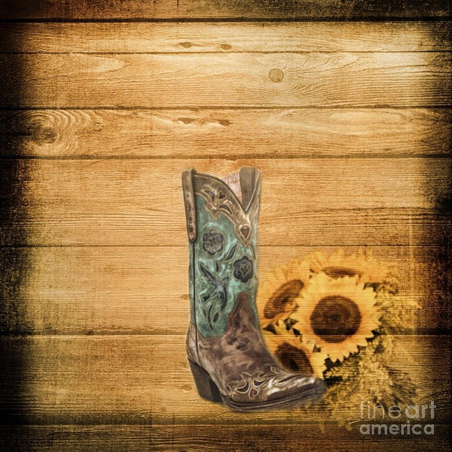 Rustic Mason Jar Fall Iphone Wallpaper Western Country Barn Wood Cowboy Boots Sunflower Art Mixed