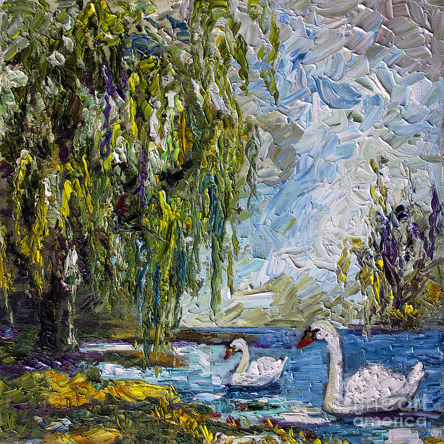 Monet Iphone Wallpaper Willow Tree And Swan Lake Oil Painting Painting By Ginette