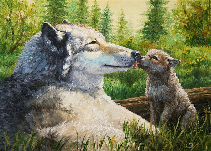 Hunting Iphone Wallpaper Wolf Painting Spring Kisses Painting By Crista Forest