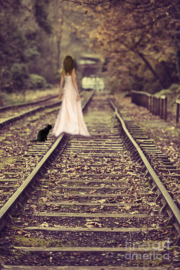 Alone Girl Wallpapers New Woman On Railway Line Photograph By Amanda Elwell
