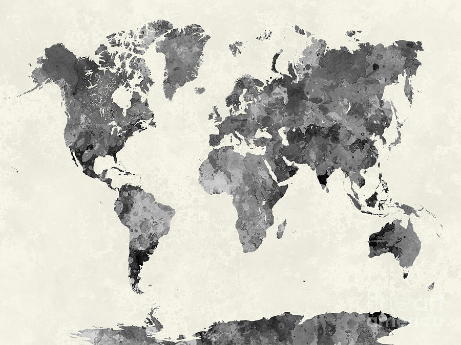 World Map In Watercolor Gray Painting by Pablo Romero - Black And Grey World Map