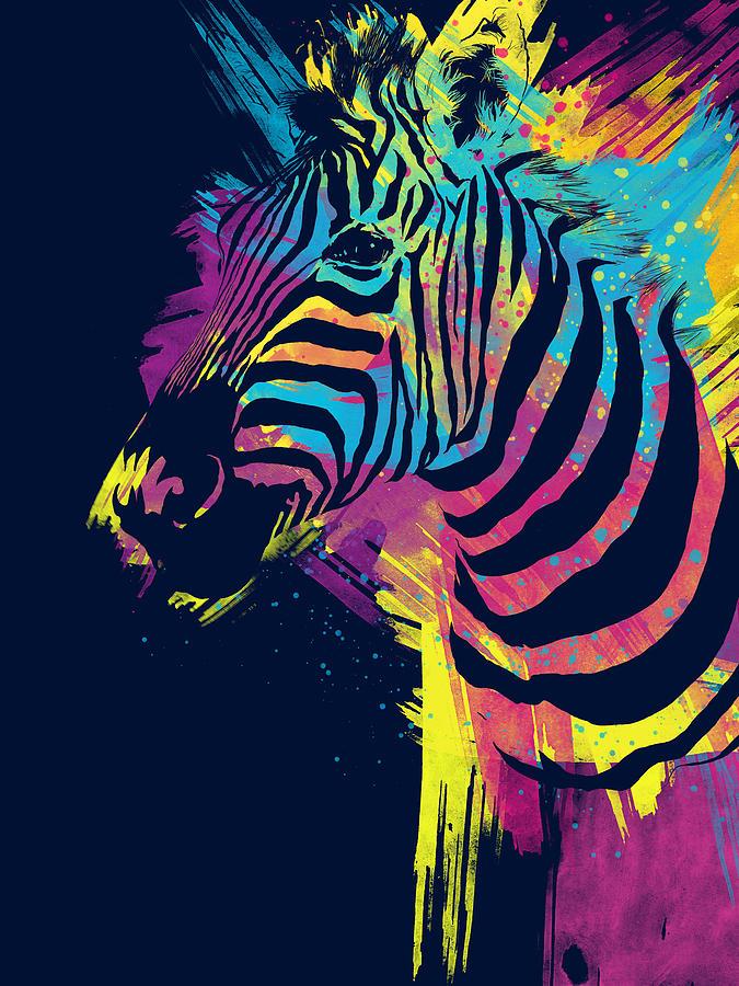 Neon Animal Print Wallpaper Zebra Splatters Digital Art By Olga Shvartsur