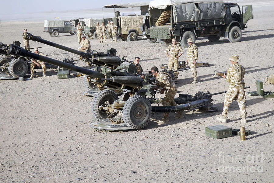 Howitzer 105mm Light Guns Are Lined Photograph By Andrew