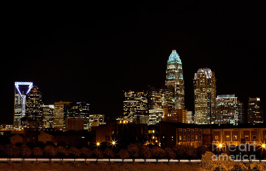North Carolina Wallpaper Iphone Charlotte Skyline At Night Photograph By Patrick Schneider