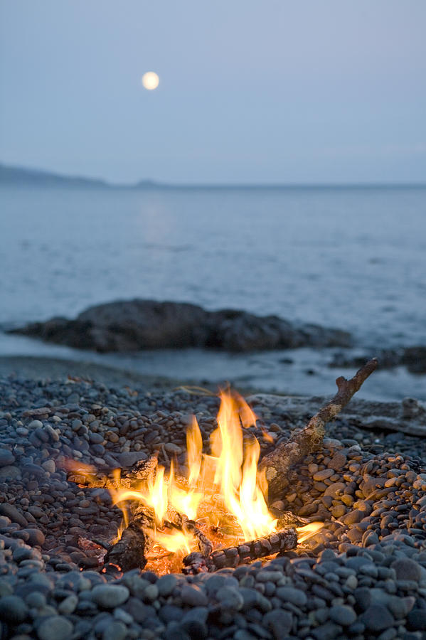 Fall Laptop Wallpaper A Campfire On A Beach With A Full Moon Photograph By