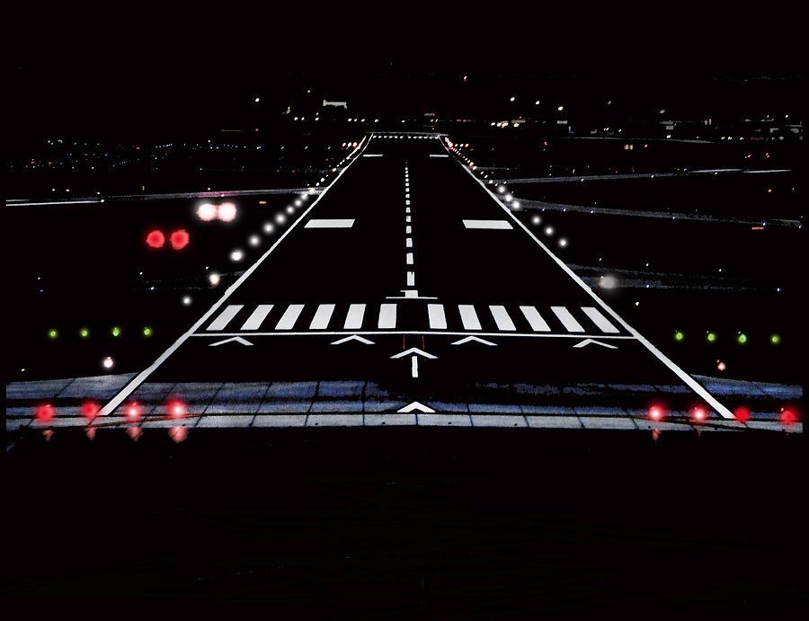 3d Wallpaper App For Iphone Airport Runway At Night Photograph By Lamyl Hammoudi