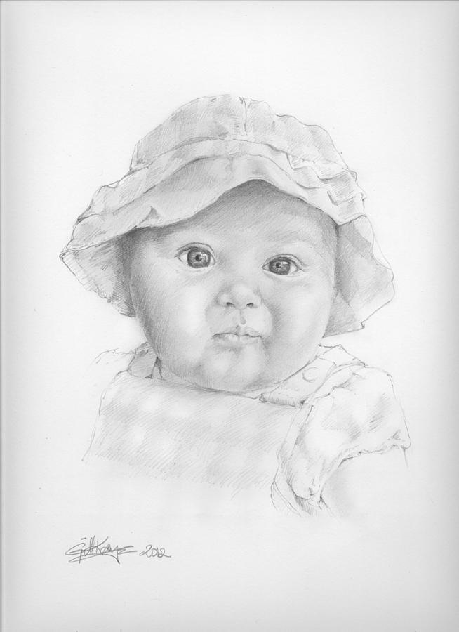 Baby Girl Drawing by Gill Kaye