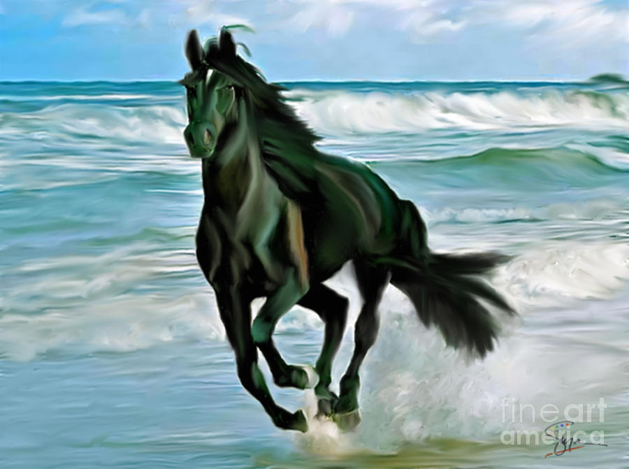 7 Horse Wallpaper 3d Black Beauty On The Beach Painting By Susan Blanton