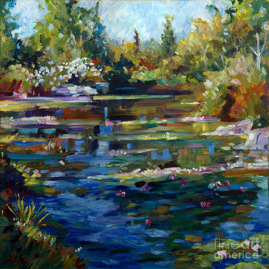 Fall Scenes For Ipad Wallpaper Blooming Lily Pond Painting By David Lloyd Glover