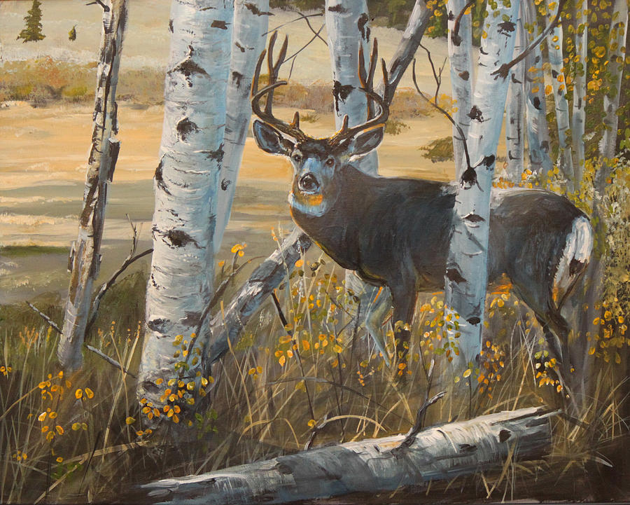 Fall Cabin The Woods Wallpaper Boulder Mule Deer Painting By Scott Thompson