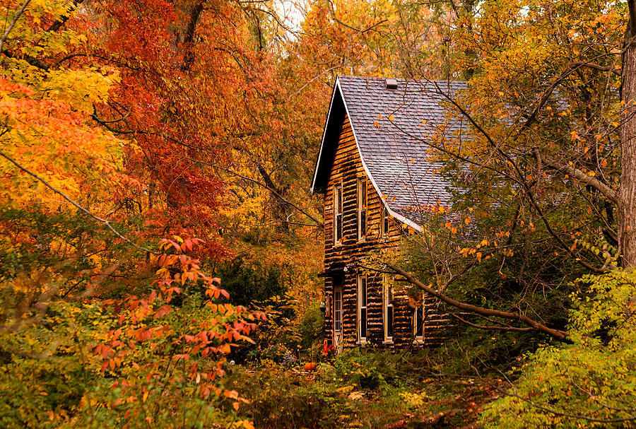Free Fall Foliage Wallpaper Cabin In The Fall Photograph By Keith Allen