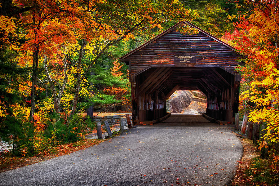 Fall Season Wallpapers For Iphone Covered Bridge In Fall Photograph By Richard Siggins
