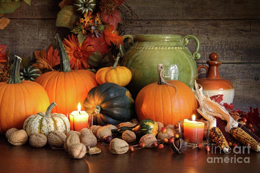 Fall Pumpkin Iphone Wallpaper Festive Autumn Variety Of Gourds And Pumpkins Photograph