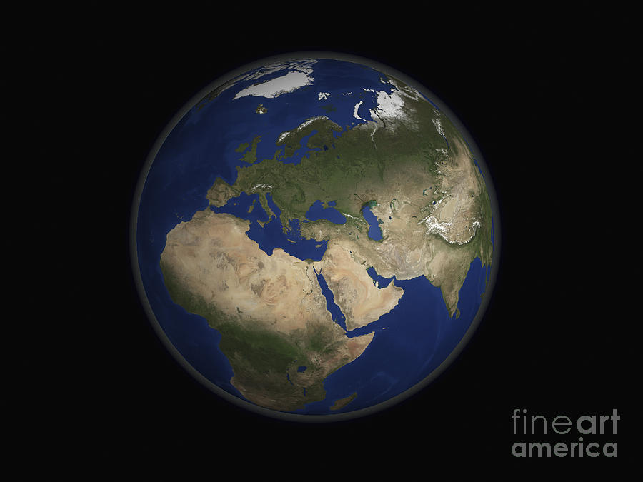 Canvas Hi Beautiful 3d Wallpaper Full Earth View Showing Africa Europe Photograph By