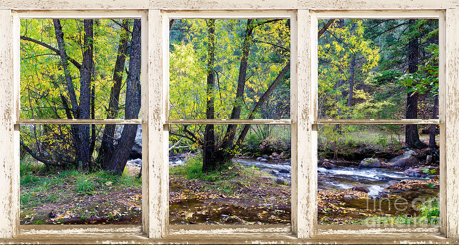 Fall Scenes For Ipad Wallpaper Left Hand Creek Rustic Window View Colorado Photograph By