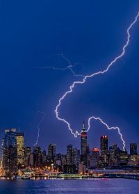 Lightning Bolts Over New York City by Susan Candelario