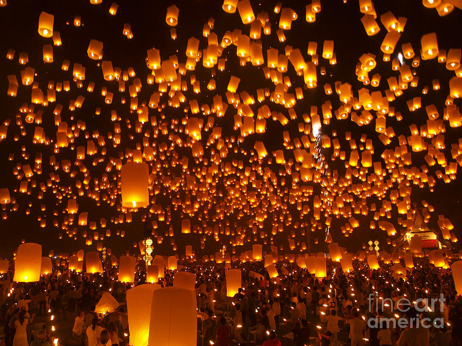 Chargers Iphone Wallpaper Loy Krathong Sky Lanterns Floating Lanterns Photograph By