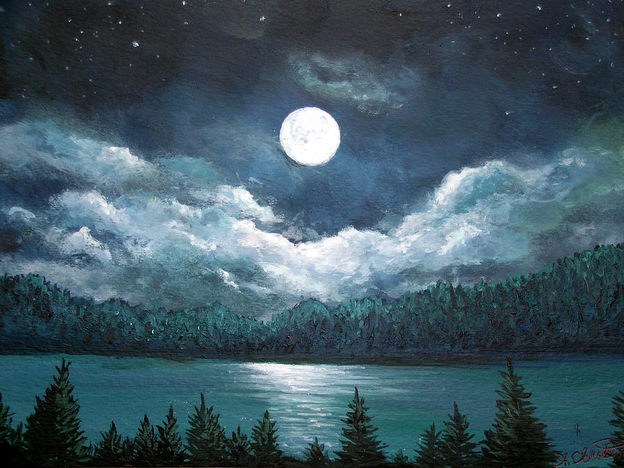 Cute Iphone Wallpaper Ideas Luminous Lake Painting By Amy Scholten