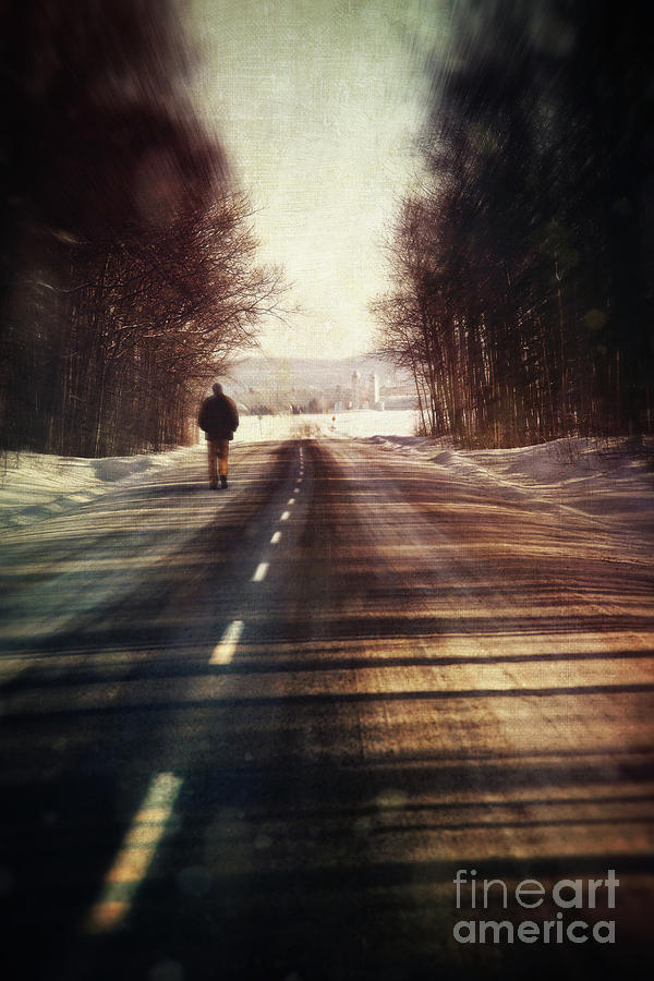 Wood Iphone 6 Wallpaper Man Walking On A Rural Winter Road Photograph By Sandra