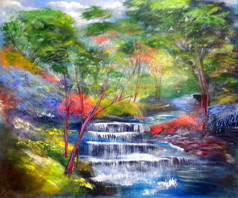 Beautiful Fall Paintings Wallpapers Peek A Boo Bear Near Waterfall Painting By Cheryl Stallings