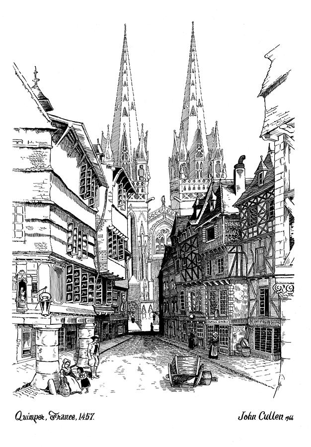 Medium Quimper Quimper Cathedral France 1457ad Drawing By John Cullen
