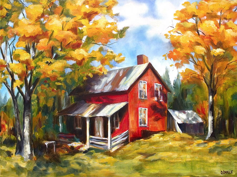 Fall Schoolhouse Wallpaper Red House In Autumn Painting By Diane Daigle