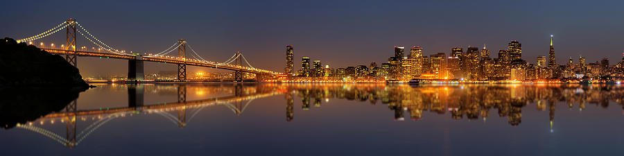 San Francisco Bridge Hd Wallpaper San Francisco Lights Panorama Photograph By Miho Birimisa