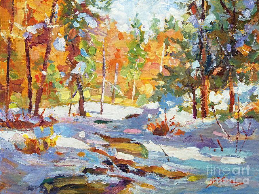 Robin Iphone Wallpaper Snowy Autumn Plein Air Painting By David Lloyd Glover