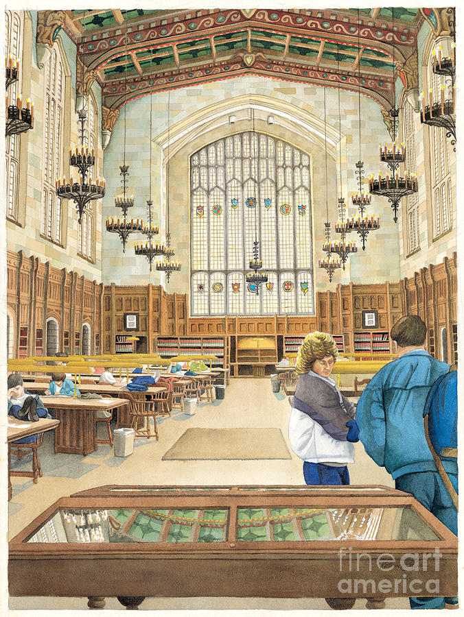 University Of Michigan Law Library Painting by Katherine Larson