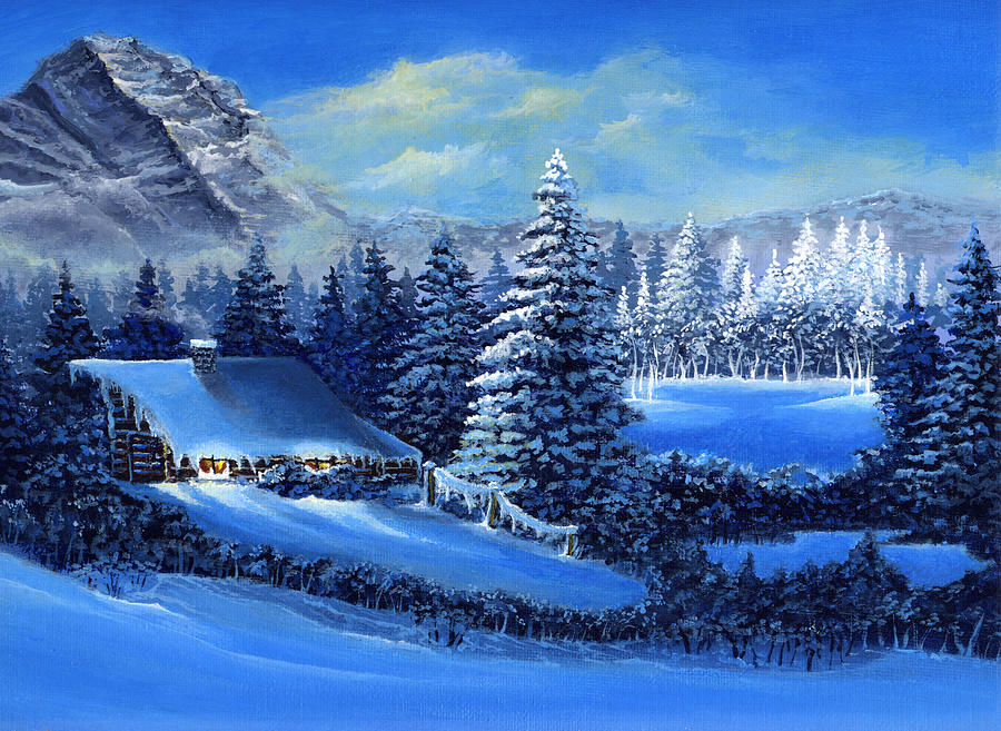 3d Snowy Cottage Animated Wallpaper Free Download Winter Cabin Painting By Bonnie Cook