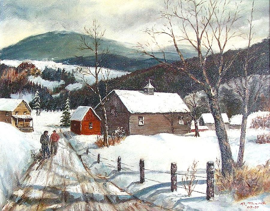 Snow Village 3d Live Wallpaper And Screensaver New England Winter Scene Painting By Nicholas Minniti