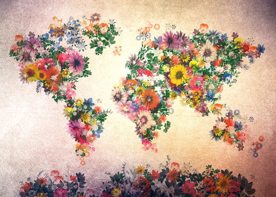 Vintage Map Iphone Wallpaper World Map Floral 9 Painting By Bekim Art