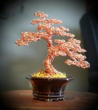 #129 Copper Wire Tree Sculpture Sculpture by Ricks Tree Art