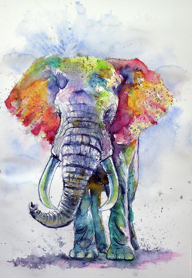 Cute Wallpapers Ipad App Colorful Elephant Painting By Kovacs Anna Brigitta