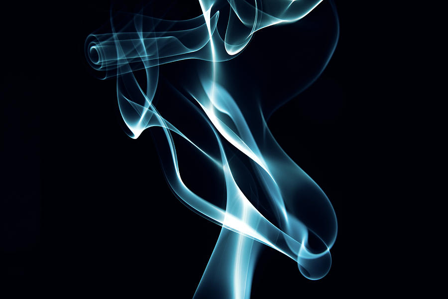 Abstract Blue Smoke On Black Background Photograph by Danil