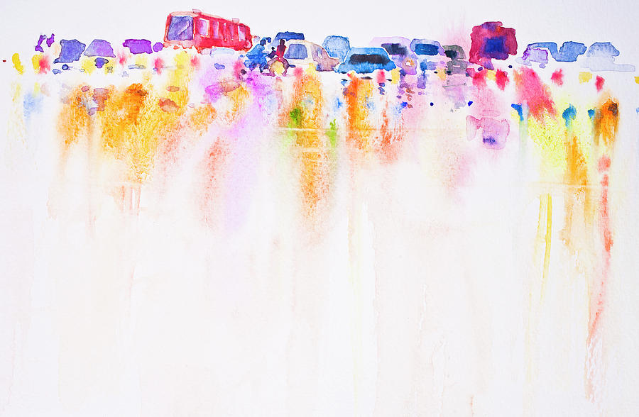Skyline Car Wallpaper Hd Abstract Car On The Road Watercolor Hand Painted