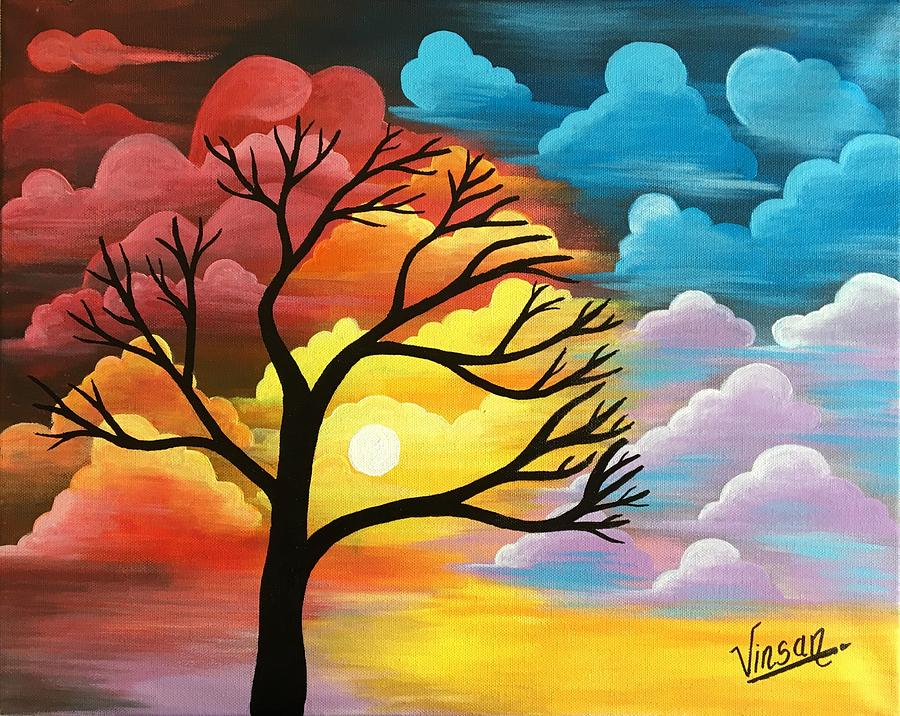 Abstract Nature Acrylic Painting Painting By T Saranraj